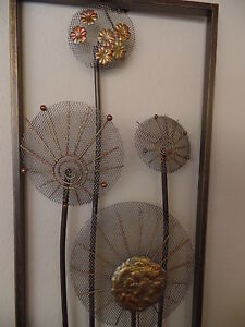 wandh nger bild flowers metall relief wanddeko deko wohndeko blumen gro ebay. Black Bedroom Furniture Sets. Home Design Ideas