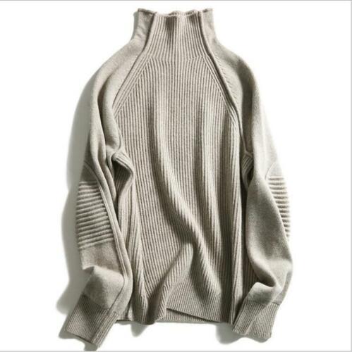 2019 NEW Fashion Women/'s Cashmere Sweater Warm Knitted Sweater Loose Turtleneck