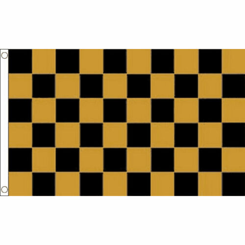 100/% Polyester With Eyelets Banner Check Black /& Gold Checkered Flag 5 x 3 FT