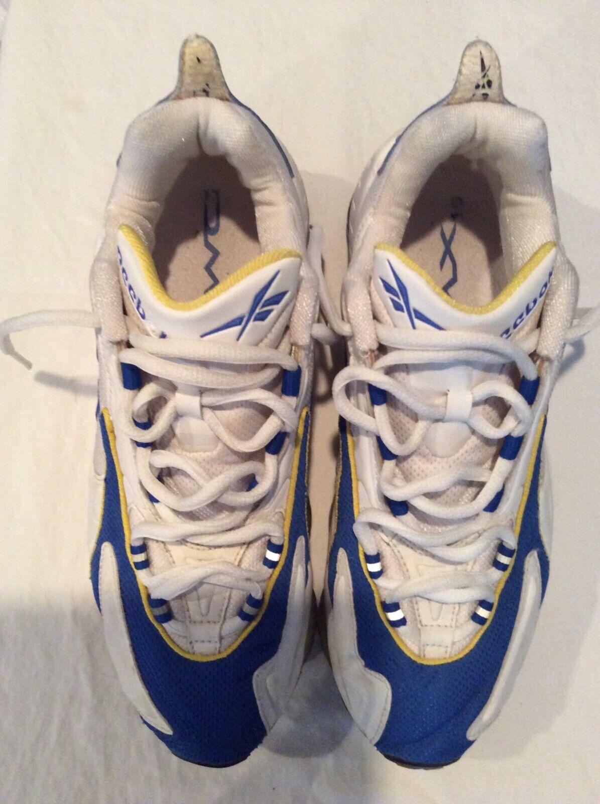Uomo Reebok DMX Running scarpe, Dimensione 9.5, bianca, blu blu blu and giallo d35f49