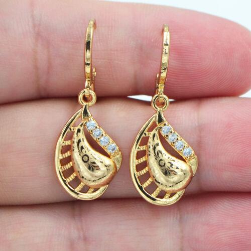 18K Yellow Gold Filled Women Clear Topaz Laser Stamped Sea Shell Dangle Earrings