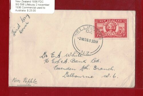 1936 New Zealand SG 598 Safeguard 2 Nov 36 commercially used to Australia