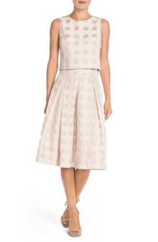 tweedelige NwtEliza Check jurk sz J Satin 12n618 roWCxdBe