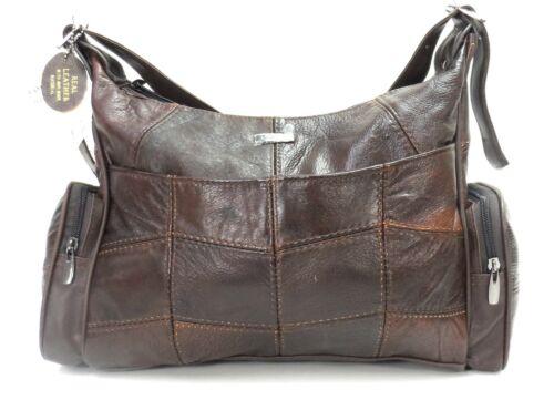 Womens CowHide Genuine Real Leather Lorenz  Organizer Shoulder Handbag Brown UK