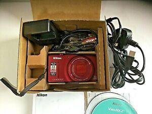 Nikon-COOLPIX-S9400-18-1-MP-Digital-Camera-Red-boxed-with-all-accessories
