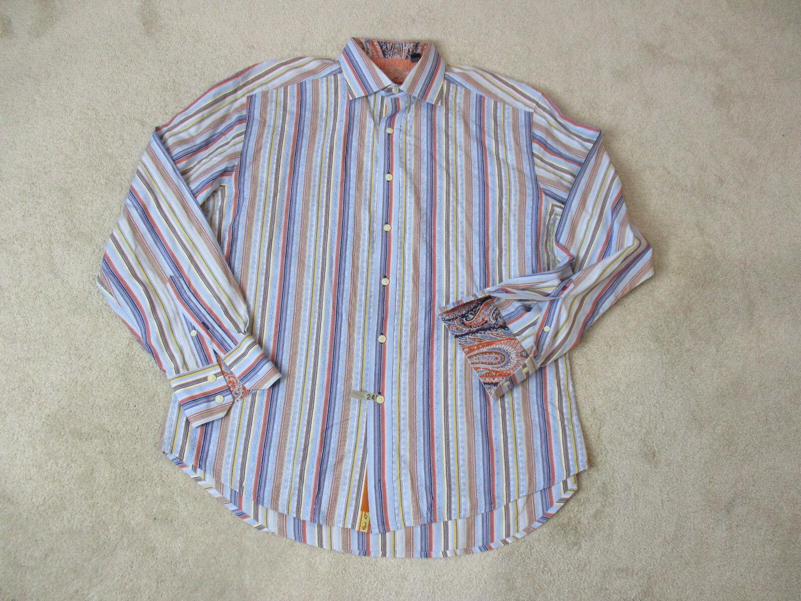 Robert Graham Flip Cuff Button Up Shirt Adult Extra Large bluee orange Casual Men
