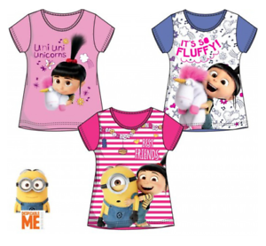 Filles-Enfants-Official-Licensed-Minions-Meprisable-Me-a-Manches-Courtes-T-Tee-Shirt-Top