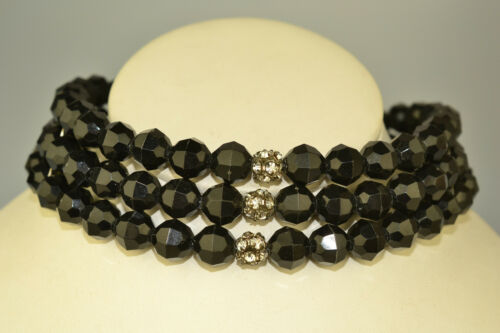 On Sale 16 inch Memory Wire Fashion Accessory Black  Rondelle and Silver Toned  Plastic Beaded Necklace Costume Jewelry