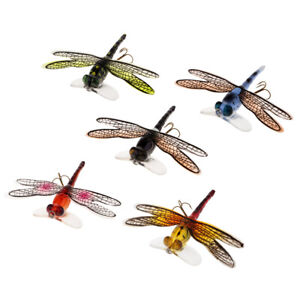 Popper Fishing Bait Lure Life-like Dragonfly Floating Fly Fishing Flies Blue