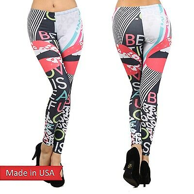 Love is beautiful Color Lips Stripes Animal Leopard Leggings Tight Pants USA