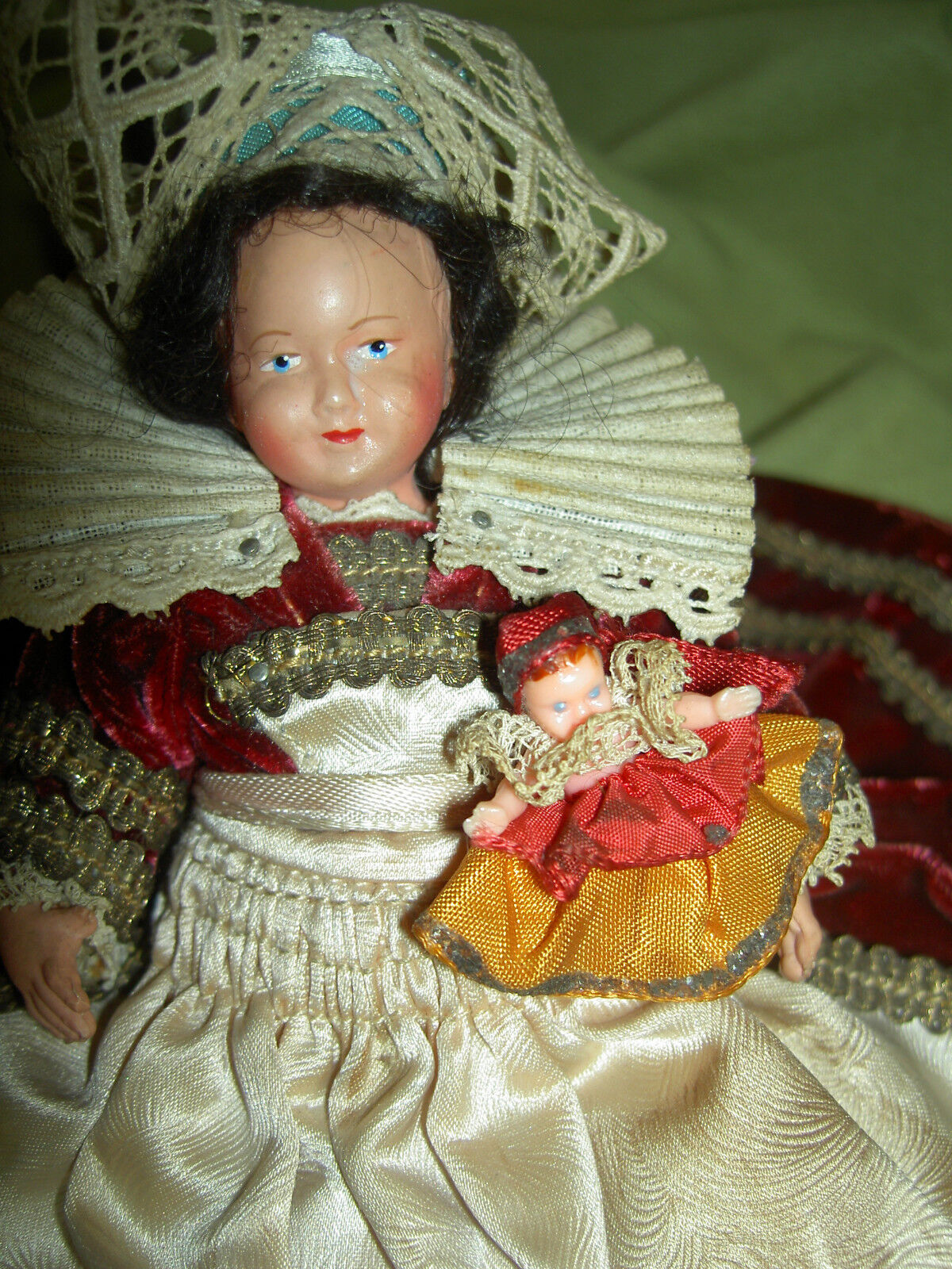 French Petitcollin jointed celluloid dolls mother & baby costume dressed c1920