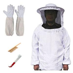 Tuta-protettiva-apicoltore-completa-con-cappello-rotondo-velo-Guanti-Brush-Hook