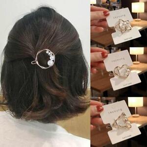 Damen-Maedchen-Clips-Kristall-Gold-Silber-Perle-Brief-Haarnadel-Haarspange-H-D7E9