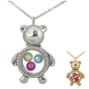 Bear-Glass-Beads-Cage-Memory-Floating-Locket-Steel-Chain-20-034-Necklace