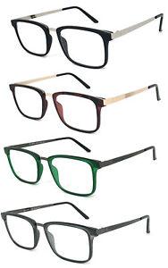 baed75dda3 Men Women Fashion Square Frame Thin Metal Temples Reading Glasses ...