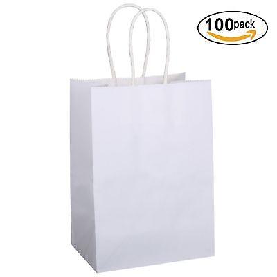 "75/""X8/"" Shopping Bag Party BROWN W Handles Kraft Paper Bags 100Pcs 5 25/""X3"