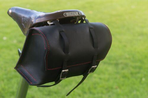 Large Bike Bag Genuine Leather Bicycle Saddle Handlebar BLACK Red Stitching
