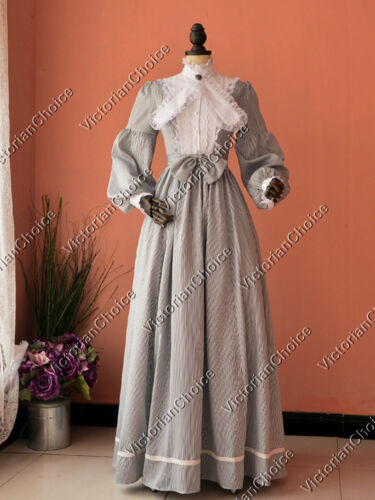 TitanicStyleDressesforSale  Victorian Stripes Gown Dress Theatrical Halloween Women Costume 191 $145.00 AT vintagedancer.com