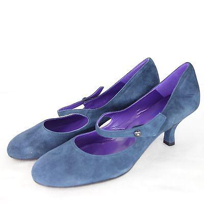UAD MEDANI Zapatos Mary Jane de tacón Auténtico Gamuza gr 38 Azul NP 179 NUEVO