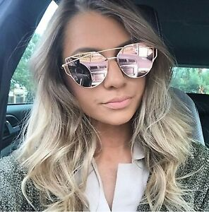 73b73a75a Image is loading LUXE-Rose-Gold-Mirrored-Reflective-Aviator-Sunglasses -DESIGNER-