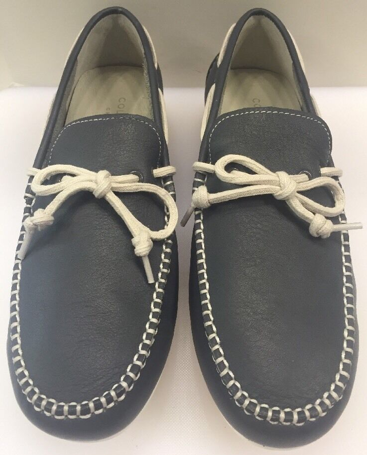 Cole Haan Grant LTE Grey Leather White Driving Moc Boat Shoe Men 10 M NIB C13456