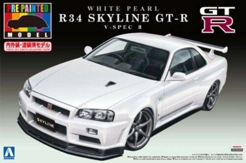 Aoshima - 00860 Nissan R34 Skyline GT-R Pre Painted White Pearl Body - T48
