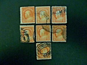 USA Lot of 7 Wash-Franklin 1917-19 Issue #509 Used - See Description & Images