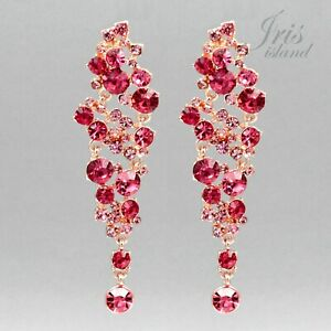 Prom Earrings Chandelier Earrings Free shipping ROSE GOLD Plated Pink Crystal Rhinestone Wedding Dangle Drop Earrings Gift for women
