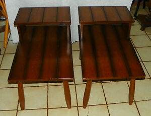 Pair Of Mid Century Solid Oak Ranch Style Step End Tables Side - Ranch style table