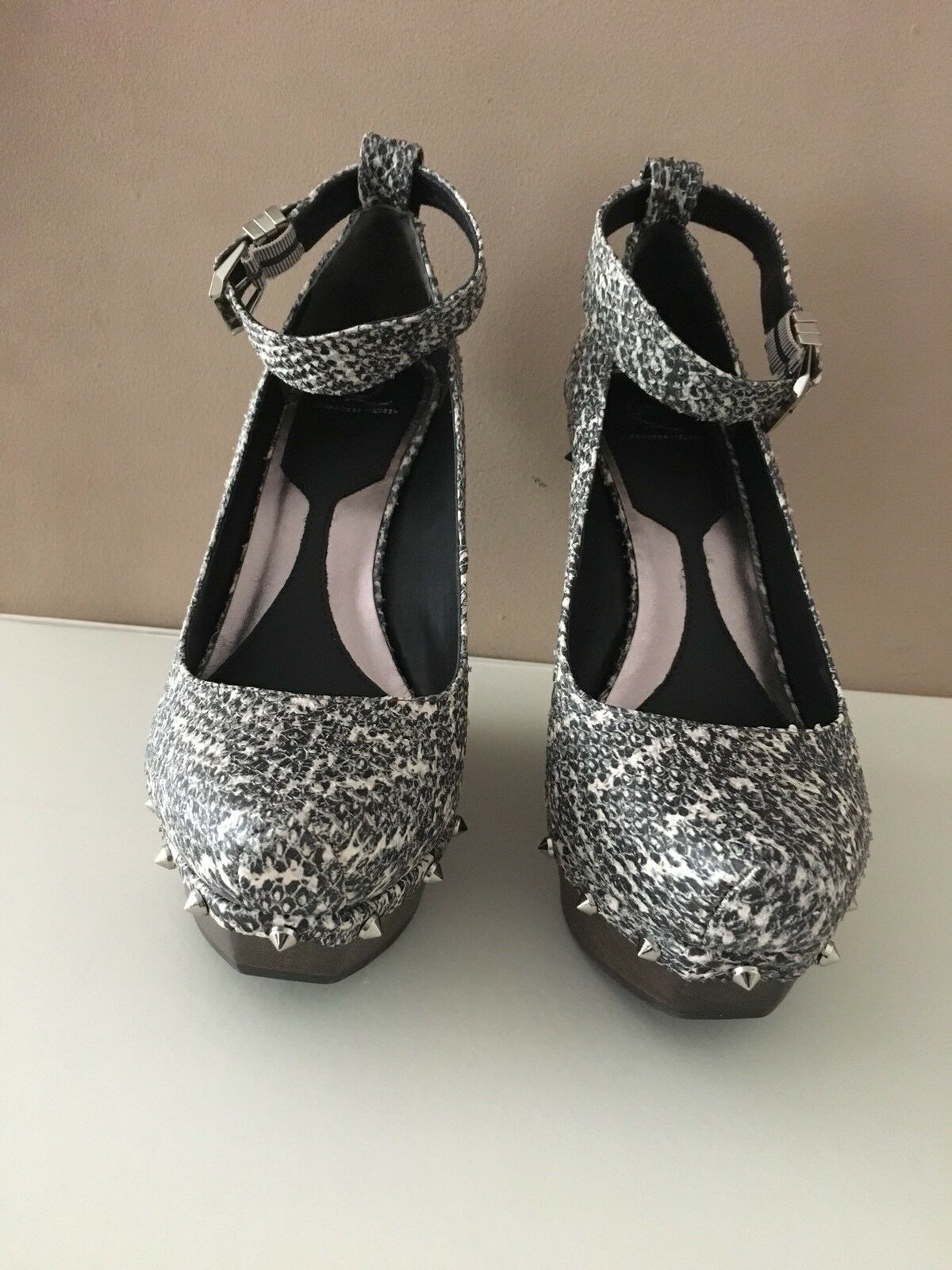 McQ Alexander Mcqueen Ladies White grey Snake Print Ankle Strap Wedge Size 40