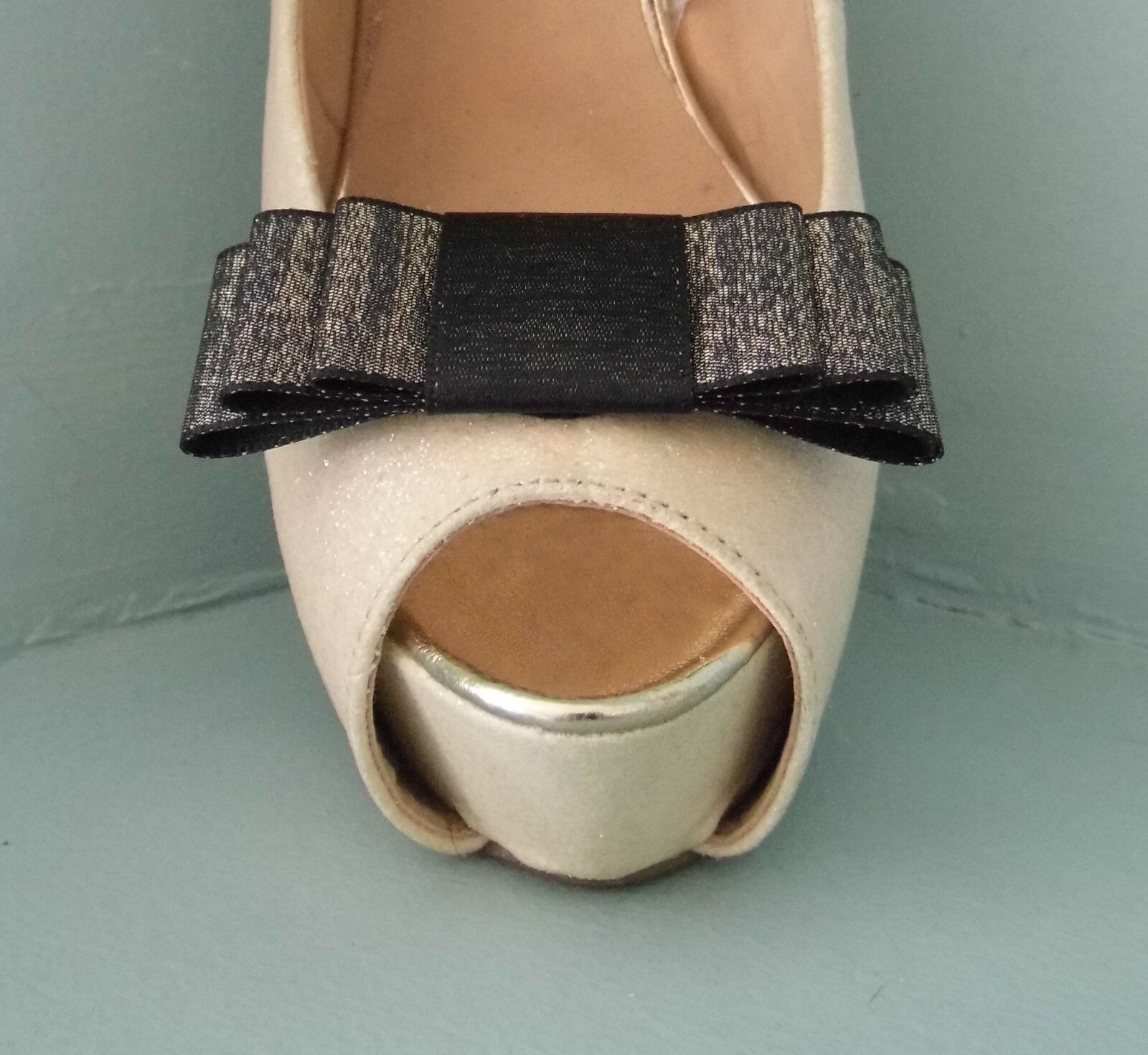 2 Gold / Black Double Sided Satin Glitter Bow Clips for Shoes