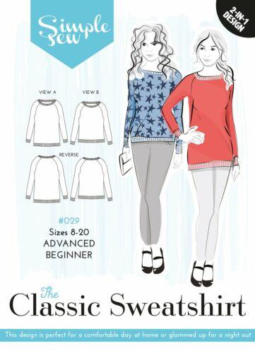 Womens Advanced Beginner The Classic Sweatshirt UK 8-20 Sewing Pattern