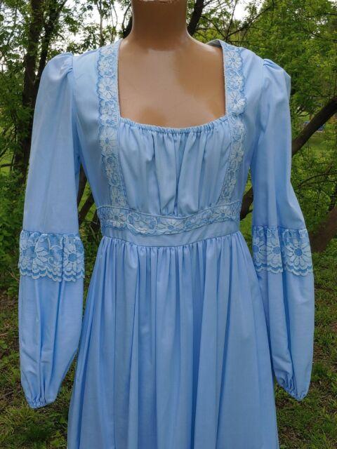 Vintage Baby Blue Gunne Sax By Jessica Boho Prairie Dress Gown
