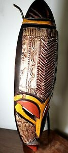 Mask-African-Carved-Wood-Tribal-Wall-Hand-Vintage-Art-Wooden-Face-Decor-1059