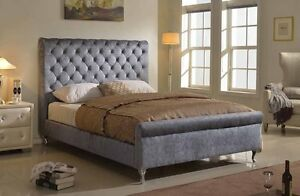 koral furniture tufted platfoorm bed frame sky-grey with high headboard7314queen