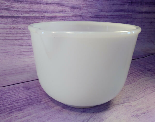 Glasbake 20CJ White Milk Glass Spout Mixing Bowl for Sunbeam Mixmaster Vintage