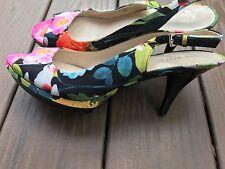 Nine West Sharina Black Floral Print Open Toe Heel Pumps Size 10