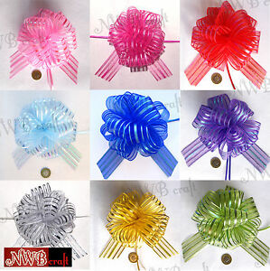 50MM-LARGE-ORGANZA-RIBBON-PULL-BOWS-VARIOUS-COLOURS-WEDDING-PARTY-GIFTWRAP