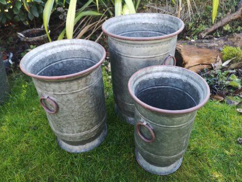 Set 3 Round Vintage Galvanised Metal Barrel Planters Tub Plant with ring handles