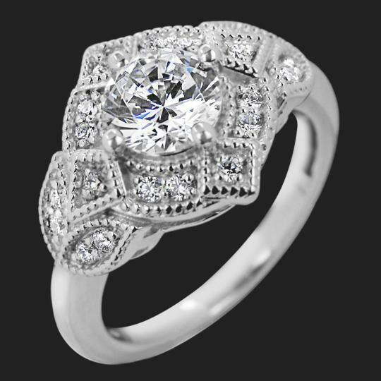 1.25 Ct Antique Halo Round Cut Moissanite Engagement Wedding Ring 9K White gold