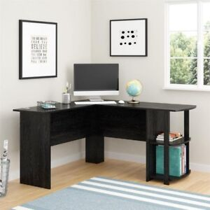 Desk With 2 Shelves In Black Ebony Ash