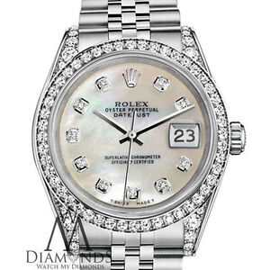 Ladies Rolex Datejust 26mm Steel White MOP Mother Of Pearl Diamond ... 43c59154bd2e