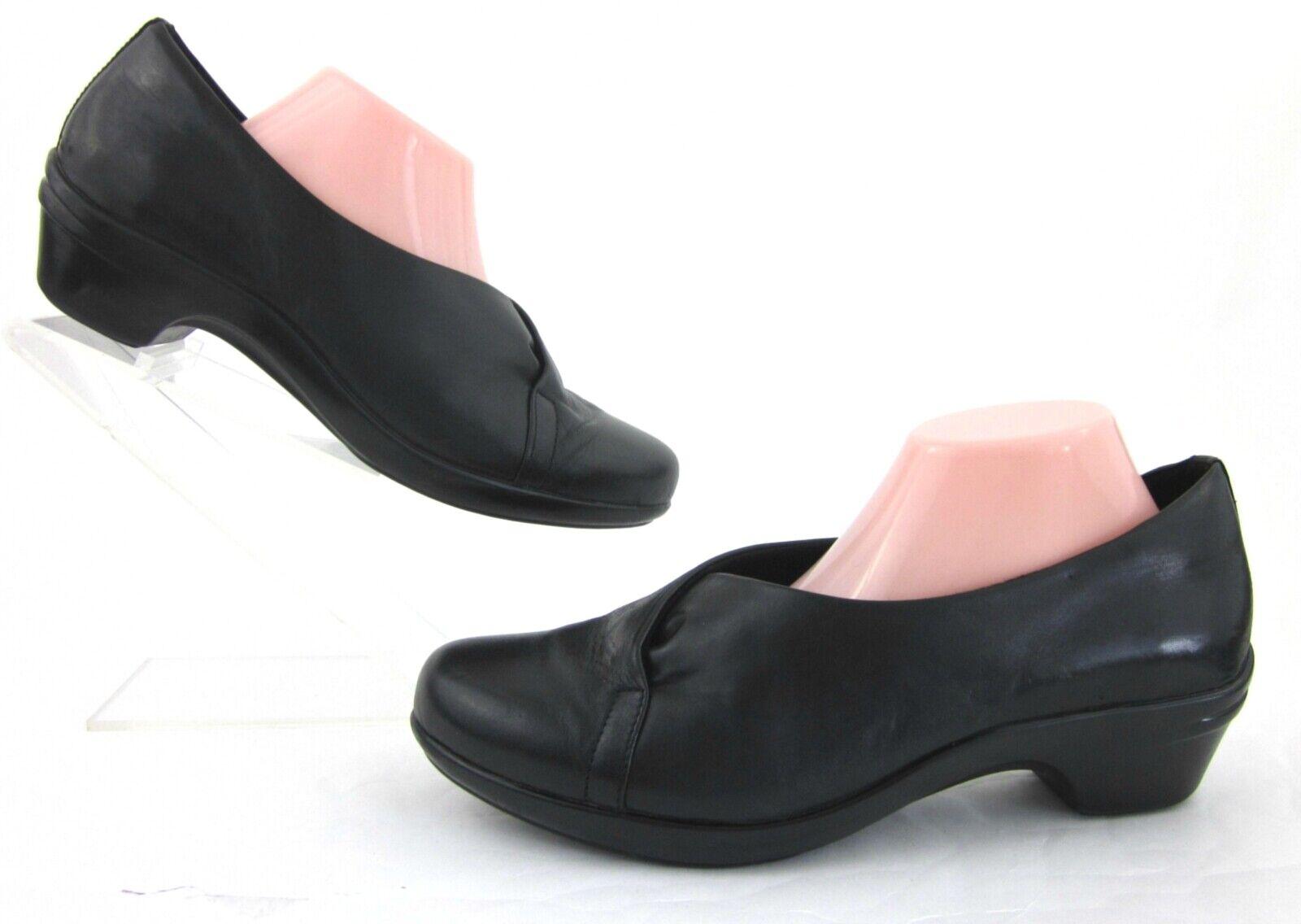 Aravon 'Kitt Asym' Low Heel Slip On Shoes Black Leather US 11 2E Extra Wide