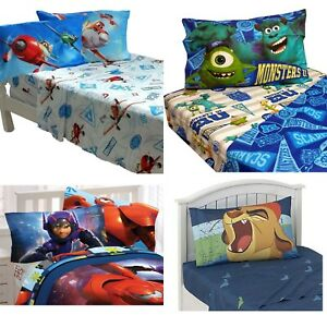 nEw-BOYS-DISNEY-CHARACTER-BED-SHEETS-SET-Planes-Cars-Bedding-Sheets-Pillowcase