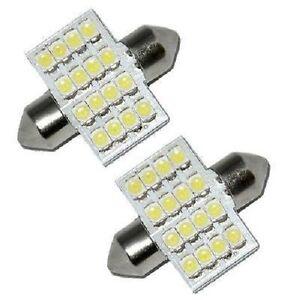 2-White-16-SMD-12V-LED-Car-Number-Plate-Registration-Dome-Light-Bulbs-31mm