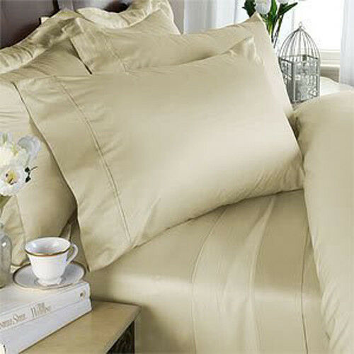 DUVET SET + FITTED SHEET IVORY SOLID PREMIUM BEDDING ALL SIZES 1000TC EGY COTTON