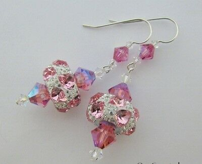 Earrings made with Swarovski Crystal Pave Pink Heart Charm & Sterling Silver