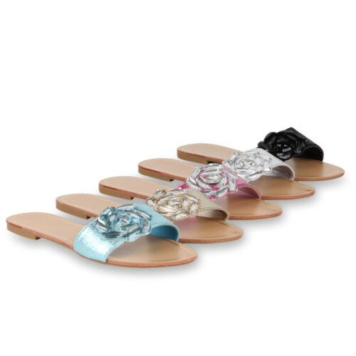 Damen Sandalen Metallic Schlappen Beach Flats 72088 Schuhe