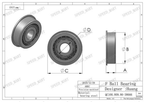 2 x MF95zz Mini Metal Double Shielded  Flanged  Ball Bearings 5mm*9mm*3mm