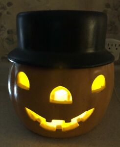 VTG-Pumpkin-Jack-O-Lantern-Halloween-Lighted-Ceramic-10-Tall-Mold-Candle-USA